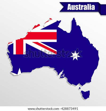 Australia map with flag inside and ribbon