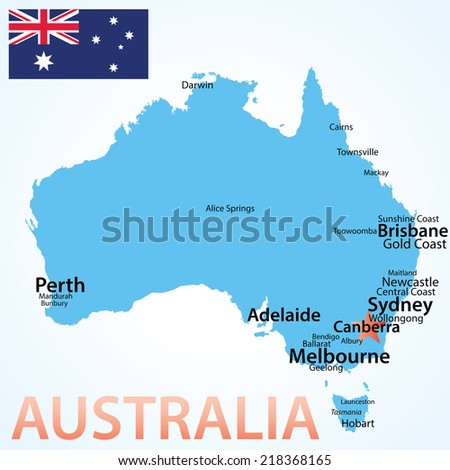 Australia - map with largest cities, carefully scaled text by city population,geographically correct. - stock vector