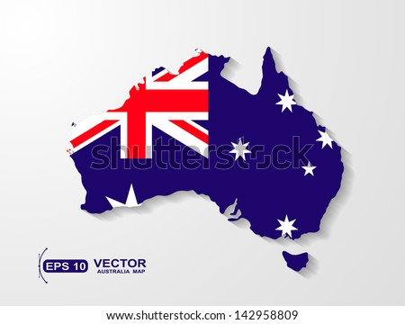 Australia map with shadow effect  - stock vector