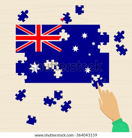 Australia National Flag Puzzle Flat Vector Illustration - stock vector