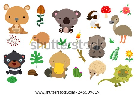 australia nature (no background) - stock vector