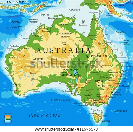 Australia-physical map - stock vector