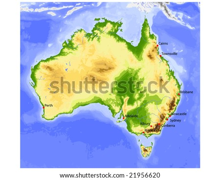 Australia. Physical vector map, colored according to elevation, with rivers and selected cities. 59 layers, fully editable. Data source: NASA - stock vector