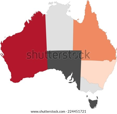 Australia political map with pastel colors. - stock vector
