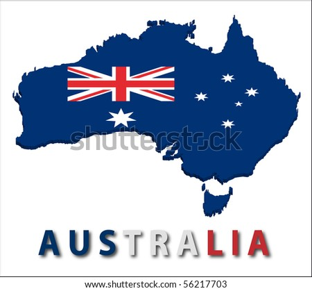 Australia territory with flag texture. - stock vector