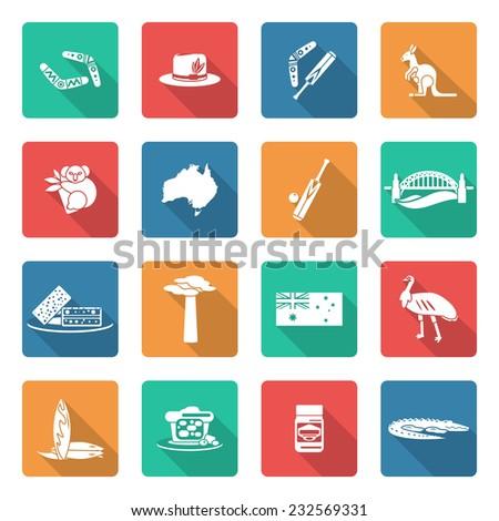 Australia travel icons white set with boomerang kangaroo koala crocodile isolated vector illustration - stock vector