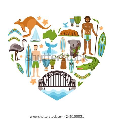 Australia travel tourism and landmarks decorative icons set in heart shape vector illustration - stock vector