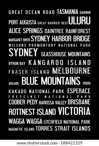 Australia - typographic poster with australian famous places