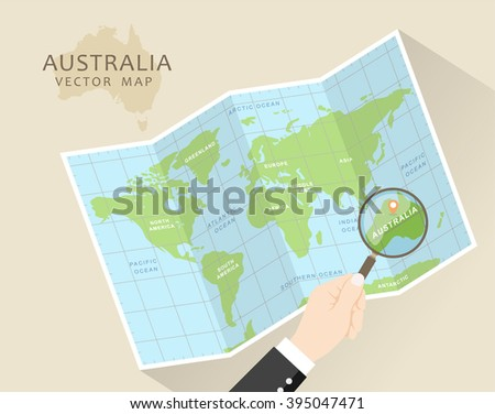 Australia vector map world map magnifying stock vector hd royalty australia vector map world map with magnifying glass australia in focus folded map gumiabroncs Images
