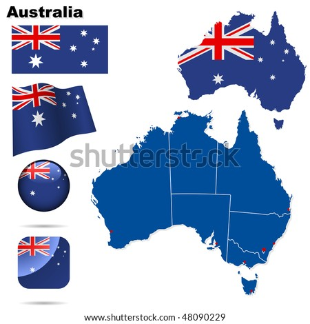 Australia vector set. Detailed country shape with region borders, flags and icons isolated on white background.