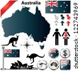 Australia vector set with country shape, flags and symbols on white background - stock photo