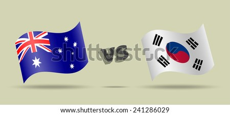 Australia versus South Korea, waving flag with shadow, vector icon - stock vector
