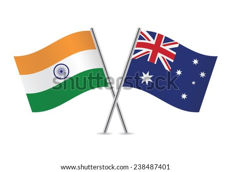Australian and Indian flags. Vector illustration. - stock vector
