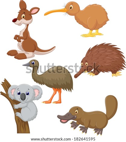 Australian animal cartoon - stock vector