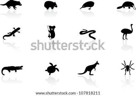 Australian animal icons - stock vector