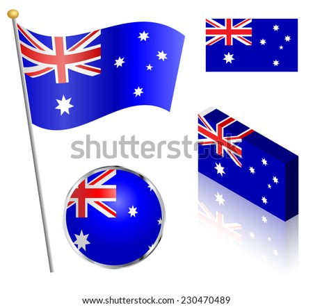 Australian flag on a pole, badge and isometric designs vector illustration.  - stock vector