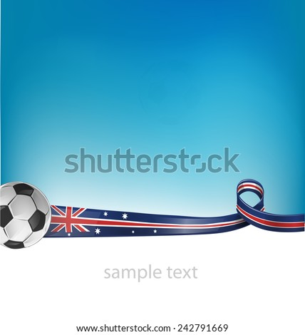 australian flag with soccer ball on background - stock vector