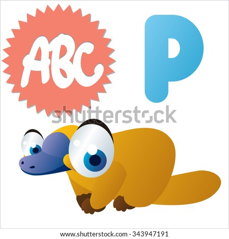 Australian funny cute animals cartoons alphabet: P is for Platypus - stock vector