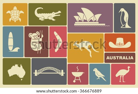 Australian icons  - stock vector