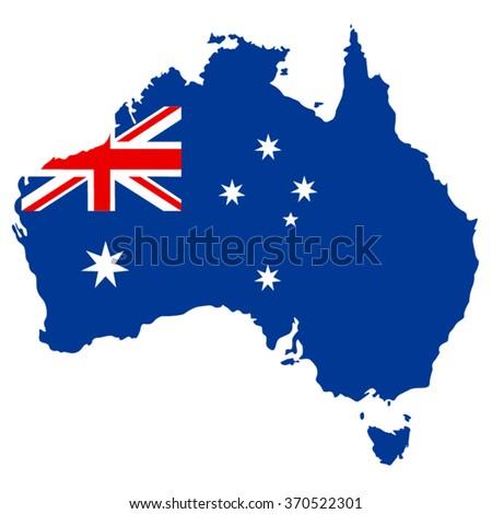 Australian map flag, vector illustration. - stock vector