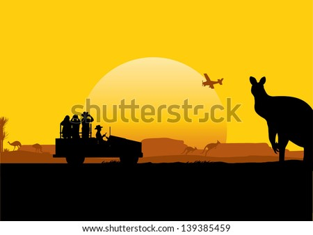 Australian Safari, vector - stock vector