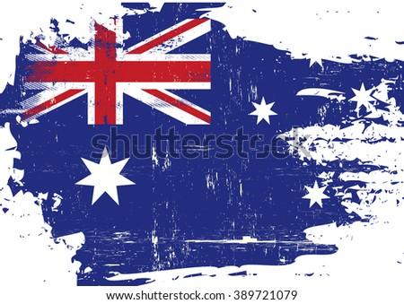 Australian scratched Flag. An australian flag with a grunge texture - stock vector