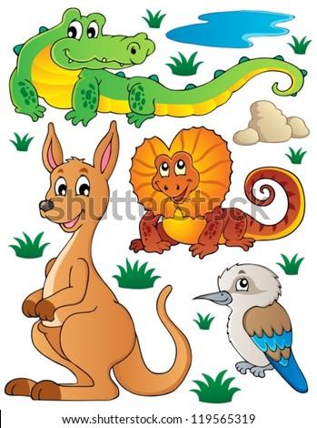 Australian wildlife fauna set 2 - vector illustration. - stock vector