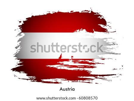 Austria brunge flag, vector design - stock vector