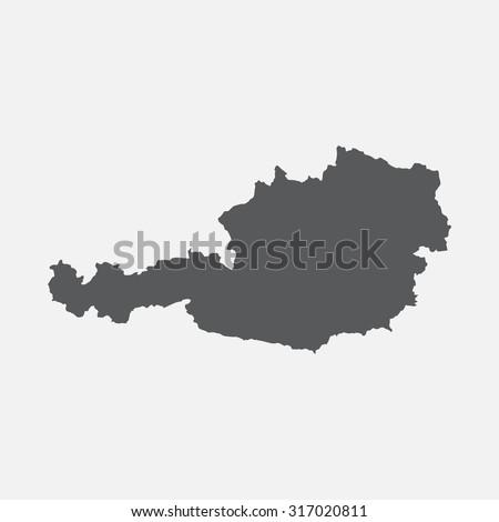 Austria country border map - stock vector