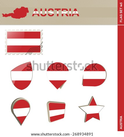 Austria Flag Set, Flag Set #5. Vector.