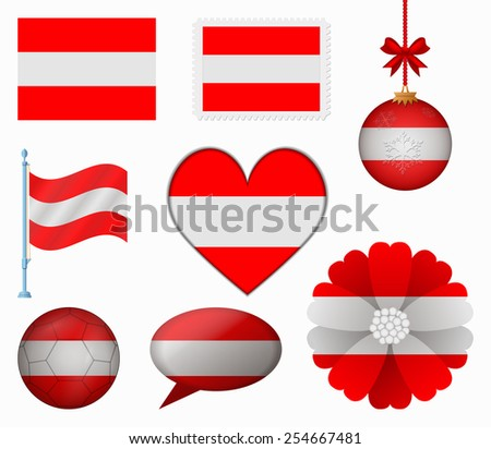 Austria flag set of 8 items vector