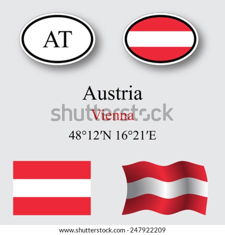 austria icons set against gray background, abstract vector art illustration, image contains transparency - stock vector