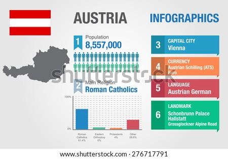 Austria infographics, statistical data, Austria information, vector illustration - stock vector