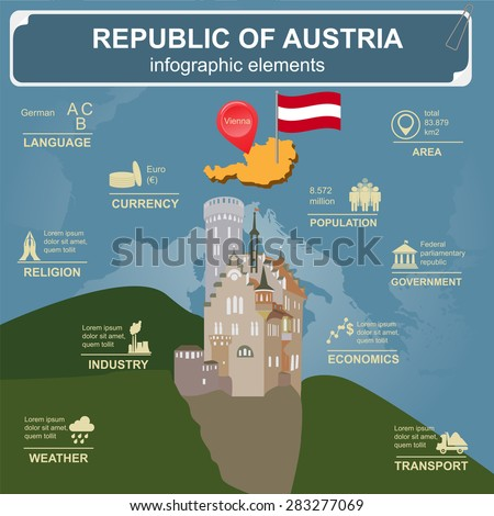 Austria  infographics, statistical data, sights. Vector illustration - stock vector
