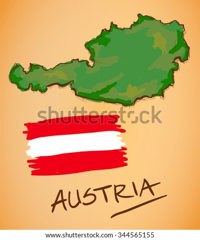 Austria Map and National Flag Vector - stock vector
