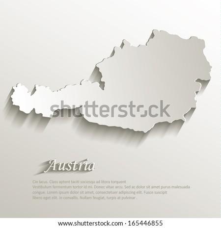 Austria map card paper 3D natural vector - stock vector