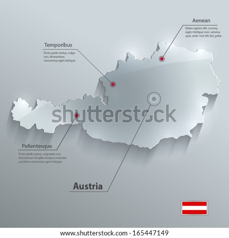 Austria map glass card paper 3D vector flag - stock vector