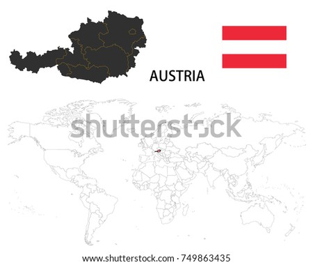 Vienna Map Stock Images RoyaltyFree Images Vectors Shutterstock - Austria on the world map