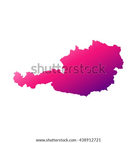 Austria map with gradient - stock vector