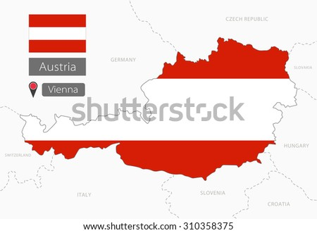 Austria map with national state flag - stock vector