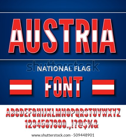 Austria National Flag stylized Font. Alphabet and Numbers in Vector Set