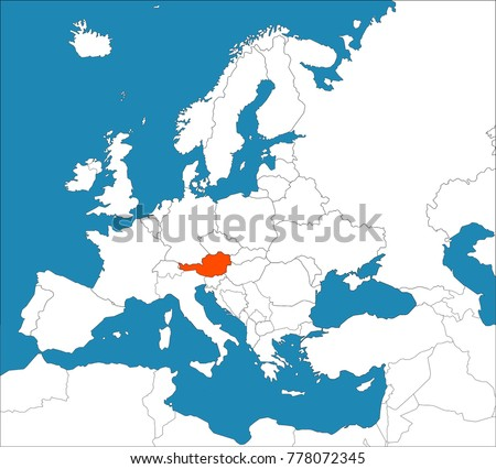 Austria on europe map stock vector 778072345 shutterstock austria on the europe map gumiabroncs Choice Image