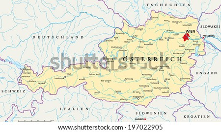 Austria Political Map with capital Vienna, national borders, most important cities, rivers and lakes. Vector illustration with German labeling and scaling. - stock vector