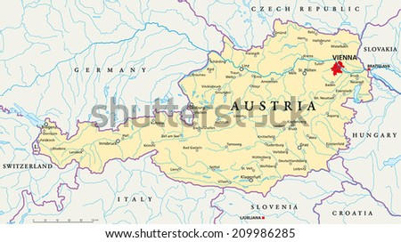 Austria Political Map with capital Vienna, with national borders, most important cities, rivers and lakes. Illustration with English labeling and scaling. - stock vector