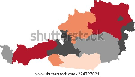 Austria political map with pastel colors. - stock vector