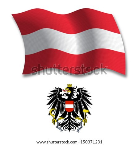 austria shadowed textured wavy flag and coat of arms against white background, vector art illustration, image contains transparency transparency - stock vector