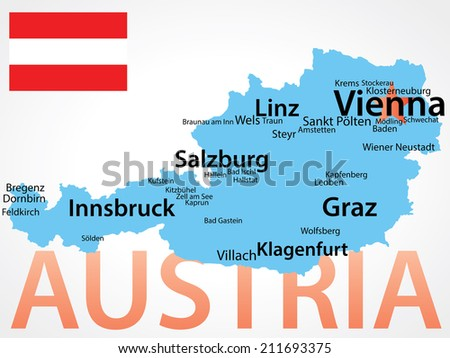 Austria - Vector map - carefully scaled text of cities by population.  - stock vector