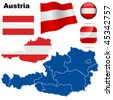 Austria vector set. Detailed country shape with region borders, flags and icons isolated on white background. - stock vector