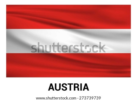 Austria Waving flag isolated vector in official colors and Proportion Correctly. waving wind Flag realistic fabric effect. country's name label in bottom - stock vector