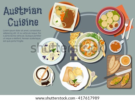 Austrian cuisine with sandwiches topped with liptauer spread, goulash and pork dumplings, baked pork with boiled potatoes and garlic sauce, cups of coffee, pancakes, ice cream and plum dumplings - stock vector